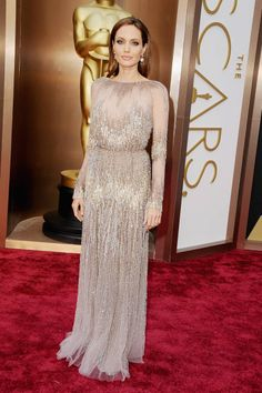 Angelina Jolie in Elie Saab Couture Oscar Dresses 2014 Style - Academy Awards 2014 Red Carpet Fashion - ELLE
