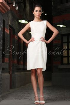 Beach Informal Modest Ivory White $ - $700 and under Fall High Neck Natural Short SimplyBridal Sleeveless Spring Winter Wedding Dresses Photos & Pictures - WeddingWire.com