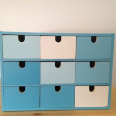 #ikea MOPPE (FIRA, MACKIS) mini chest of drawers: painted different shades of blue Seaside Bedroom, Ikea Boxes, Classroom Organisation, Ikea Hackers, Chest Of Drawers, Shades Of Blue, Decoupage, Nursery, Room Makeovers