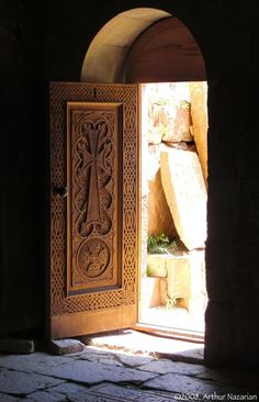 Door in Noravank . Would love to do the cross in stained glass.
