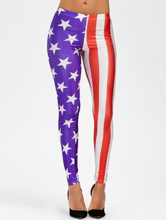 Mid Waist American Flag Leggings - COLORMIX ONE SIZE