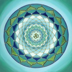 Blue Green Om Mandala - commission for Diablo Yoga Center. coffee table top inspiration