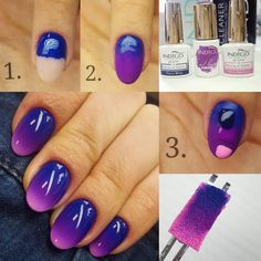 "171 Likes, 1 Comments - Nails University. Пошаговые МК (@nails_univer) on Instagram: ""@walaszczyk_paulina . Ombre ""Lavender by Night"" Step by step: 1.Pokrywamy paznokcia od skórek Gel…"""