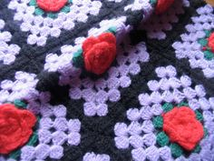 Vintage Granny Square Crocheted Pillow Sham Purple by chameleonCMC, $8.00