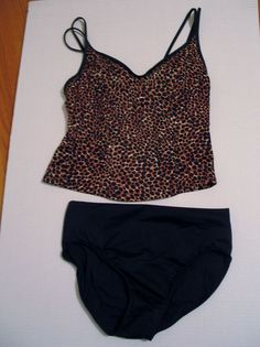 Miracle Suit Tankini Top Leopard Animal Print Size 10 Nylon/Lycra/Spandex w Bra #Miraclesuit #TankiniTop
