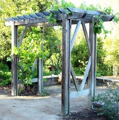 How to build a beautiful DIY pergola ( beginner friendly DIY grape arbor )! Free building plan with step by step drawings and lots of detailed photos. Build it easily for your garden without buying pergola kits! - A Piece of Rainbow Diy Pergola, Diy Arbour, Rustic Pergola, Building A Pergola, Pergola Swing, Metal Pergola, Cheap Pergola, Pergola Shade, Pergola Ideas