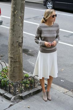 piperlime taupe ivory lattice knitwear sweater pim larkin winter white midi skirt asos zara suede tan taupe light grey ankle boots booties essie for the twill of it polish chevron bow gold delicate layered necklaces