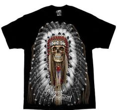 DGA DAVID GONZALES AMERICAN ORIGINAL INDIAN SKULL TATTOO T SHIRT WEST COAST CALI