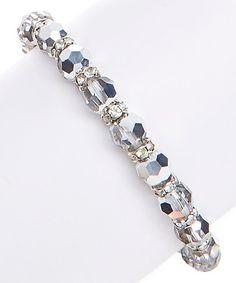 Look what I found on #zulily! Black Swarovski® Crystal & Silvertone Bead Stretch Bracelet #zulilyfinds