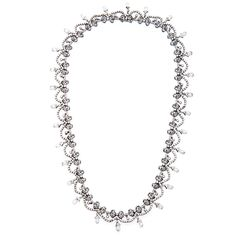 Pre-owned 18k White Gold 20ct Fine Edwardian Diamond Necklace -- Buy Now at: http://mkt.com/allurfixins-dot-com