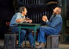 "James Franco, left, and Chris O'Dowd in ""Of Mice and Men."" <a href=""http://www.nytimes.com/2014/04/13/theater/of-mice-and-men-returns-to-broadway.html"">Related Article</a>"