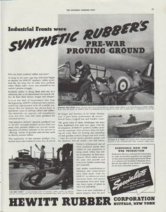 """Description: 1942 HEWITT RUBBER vintage print advertisement """"Synthetic Rubber's pre-war proving ground"""" -- Industrial Fronts were Synthetic Rubber's pre-war proving ground. Almost a century of experience as Specialists in industrial hose conveyor and transmission belts. -- Size: The dimensions of the full-page advertisement are approximately 11 inches x 14 inches (28 cm x 36 cm). Condition: This original vintage advertisement is in Very Good Condition unless otherwise noted."""