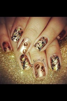 Camo nails with deer tracks! To cute!