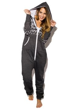 Kaia Fair Isle Print Onesie In Charcoal £19.99