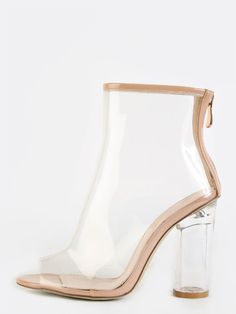 Peep Toe Crystal Heel Transparent Ankle Boots CLEAR