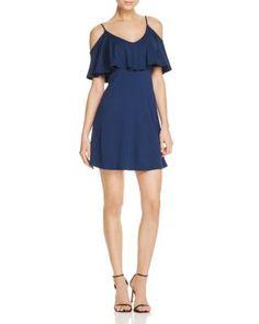 AQUA Ruffle Cold Shoulder Rib Dress - 100% Exclusive   Bloomingdale's