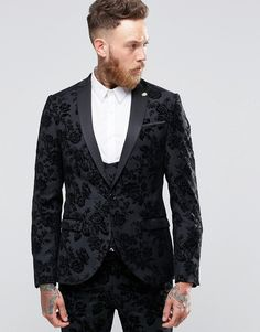 Noose & Monkey Skinny Tuxedo Jacket In Flocked Floral with Stretch