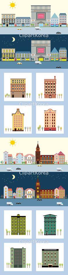 일러스트 페인터 일러스트레이션 일러스트레이터 드로잉 거리 건축물 낮 대조 도시 마을 밤 백화점 별 블루 상가 자동차 정면 초승달 컨셉 태양 트럭…