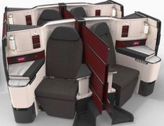 Revealed: Qatar Airways' New 787-9 Business Class   One Mile at a Time Plane Seats, Hawaiian Airlines, Business Class, Double Beds, Cabins, Space Saving, Full Beds, Cottages