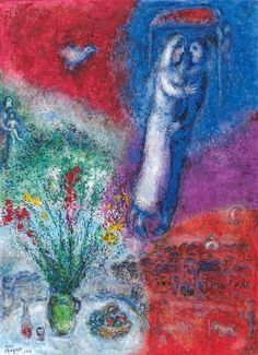 Marc Chagall, Les Mariés Pour sa prochaine participation à la TEFAF Maastricht, du 13 au 22 mars 2015, la Galerie Boulakia présentera un ensemble exceptionnel de 6 oeuvres du peintre Biélorusse Marc Chagall. #TEFAF2015 #Maastricht #foire #artmarket #Chagall