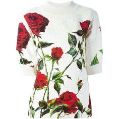 Dolce & Gabbana rose print brocade sweatshirt (€1.000) ❤ liked on Polyvore featuring tops, hoodies, sweatshirts, white, dolce gabbana top, sweat shirts, sweat tops, sweatshirts hoodies and three quarter sleeve tops