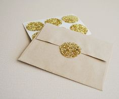 Round gold glitter stickers for the envelope #wedding #gold #glitter #stationery #diywedding