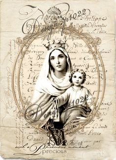 vintage Mary and child digital collage p1022