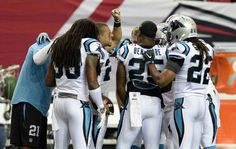 Carolina Panthers strong safety Kurt Coleman (20) gives a pep talk to members of the secondary during pre game prior to playing the Atlanta Falcons at the Georgia Dome in Atlanta, Ga. on Sunday, October 2, 2016.