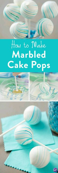 How to Make Marbled Cake Pops - Create a marbled look on your cake pops with this Marbleized Cake Pops project. Fun for baby showers and weddings, these cake pops are deceivingly easy to make and look so elegant when completed. These cake pops feature blu Oreo Cake Pops, Cookie Pops, Blue Cake Pops, Chocolate Cake Pops, Cale Pops, Blue Cakes, Marble Cake, Marble Cupcakes, Easy Cookie Recipes
