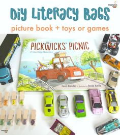 You've heard of busy bags, but do you also know about literacy book bags? These are bags with a picture book and playful toys, games, or other related hands-on activities to do. And you can easily make your own! Literacy Bags, Preschool Literacy, Early Literacy, Kindergarten, Library Activities, Hands On Activities, Reading Activities, Family Activities, Book Bags For Kids