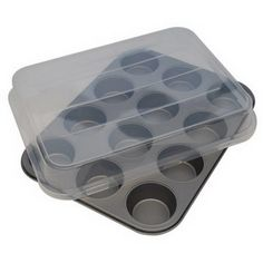 Mainstays Nonstick Cupcake Tray Bakeware Muffin Baking Pan Cookie Mold with Lid  #Mainstays