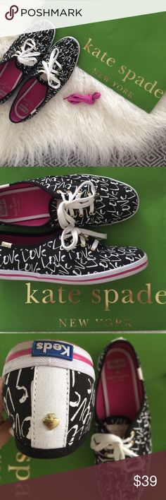 "Kate Spade Keds Love sneakers Excellent condition kate spade+Keds tennis shoes. White and pink laces. Black with white ""love"" print. Gold grommets and spade. Light signs of wear on bottoms of shoes, but otherwise good used condition. kate spade Shoes Sneakers"
