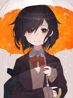 Anime picture 750x1000 with original mika pika zo single tall image blush short hair looking at viewer black hair simple background fringe black eyes light smile grey rain girl uniform school uniform umbrella bowtie school bag
