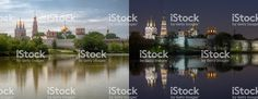 Novodevichy Convent , Moscow. This is two high dynamic range photos of same location from same point of shoot.