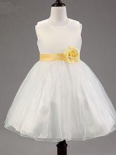 A-line Knee-length Flower Girl Dress - Cotton / Tulle / Polyester Sleeveless Jewel with Flower(s) / Sash / Ribbon - USD $26.99
