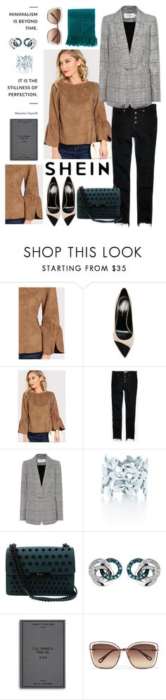 """""""green, suede and checked blazer..."""" by sha-shu ❤ liked on Polyvore featuring Yves Saint Laurent, Madewell, self-portrait, Paloma Picasso, Foley + Corinna, Links of London, Easy, Tiger, Chloé, MP di Massimo Piombo and GREEN"""