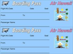 Printable Plane Ticket Boarding Passes For A Hawaii Backyard Staycation Hawaii Vacation, Cruise Vacation, Hawaii Travel, Tickets To Hawaii, Boarding Pass Template, Hawaiian Airlines, Hawaiian Luau, Hawaiian Theme, Travel