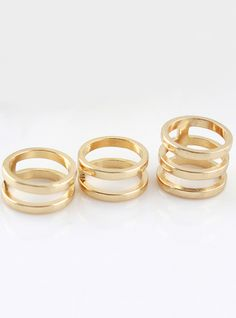 Gold Multilayer Hollow Three Fingers Ring 4.93