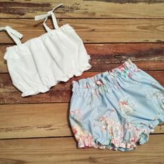 White Crop Top and Blue Floral Shorties - Baby Toddler Girls - High Waist Shorts - Summer, Birthday Pics, Beach - Birthday Gift by LilLaineyBug on Etsy https://www.etsy.com/listing/229562753/white-crop-top-and-blue-floral-shorties