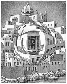 MC Escher, Balcony, Op Art - A twentieth century art movement and style in which artists sought to create an impression of movement on the picture surface by means of optical illusion. Mc Escher Art, Escher Kunst, Escher Drawings, Art Optical, Optical Illusions, Art And Illustration, Op Art, Dutch Artists, Art History