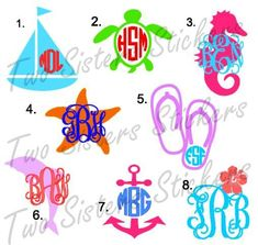 Great sailboat monogram TwoSistersStickers on Etsy, $2.50.  SUCH cute designs! Have to try to get that on a shirt.