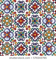 Seamless tile background, blue, white, orange Arabic, Indian patterns, Mexican tiles