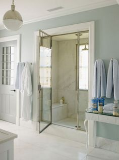 Love this tranquil gray-blue & white bath designed by Steven Gambrel.