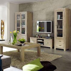 Die Serie Scott überzeugt durch eine funktionelle Gestaltung in Stollenbauweise. #Wohnzimmer #Eiche #weiß findet ihr unter www.moebel-ideal.de
