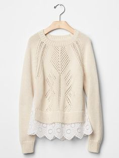 Pointelle mix-fabric sweater Product Image