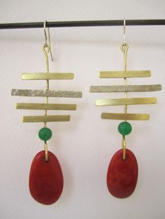 Brass and alpaca earrings with orange vegetable ivory nuts and green jade – silver hook by NataliaNorenasilver on Etsy
