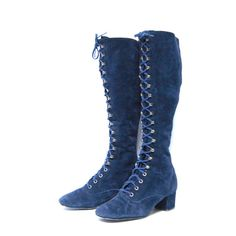size 6 BOHEMIAN navy blue suede 60s GOGO by 20twentyvintage, $115.00