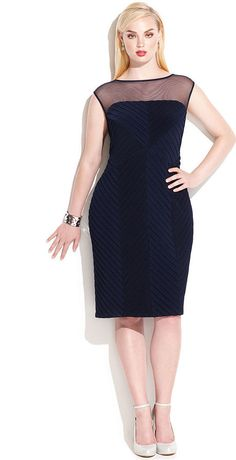 Calvin Klein Plus Size Illusion Banded Sheath