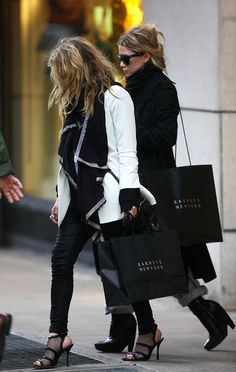 Mary-Kate & Ashley Olsen out shopping at Barneys in black & white looks #style #fashion #mka #heels #celebrity
