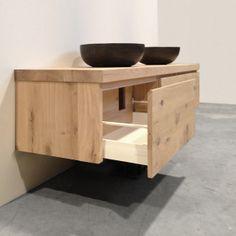 eiken houten wastafel met natuurstenen waskom (bespaart ruimte!)